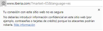 La Web de Iberia no es segura